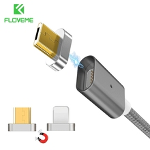 FLOVEME 2 Connectors Magnetic Cable For iPhone 7 6 5 5S & Micro USB Charging Cables Car Magnet Charger For Samsung S7 S6 Xiaomi(China)