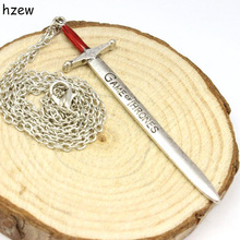 hzew Boutique Game Of Thrones Antique Silver LETTER OPENER Pendant Necklace Vintage Red Enamel Sword Men Chain Necklace Jewelry