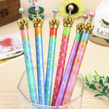 0.5mm Cute Kawaii Metal Crown Ballpoint Pen Dot Ball Point Pens for Writing  Stationery School Office Supplies Free shipping 424