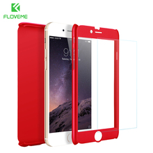FLOVEME Brand Red For iPhone 7 Plus Cases Luxury 360 Full Body Coverage Cover Case For iPhone 7 iPhone 7 Plus + Tempered Glass