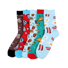High Quality 200 Needle 80% Combed Cotton Mens Socks Pizza Coffee Novelty Food Socks Chaussette Homme Size EU 36-44
