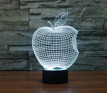 Modern Home Decor 3D APPLE NIGHT LAMP Color Changing Fruit light Acrylic Mood Lamp Bulbing Light For Bedroom
