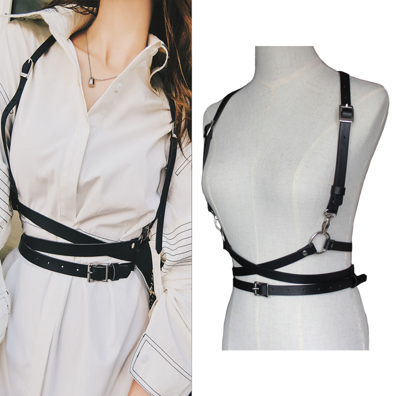 Leather harness sexy women Dark Rock street strap body harness cool collar around neck adjustable buckles waist belts girl(China)