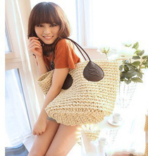 50x36CM Paper Rope Crochet Large Handbags Beach Bag High - Grade Leather Decoration Handbags Three - Line Large Ears Straw A2822