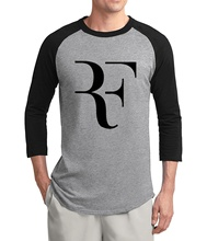 new arrival Roger Federer Creative RF 2017 new summer three quarter sleeve t shirt 100% cotton high quality raglan men t-shirt