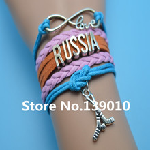 Infinity Love Russia Hockey Bracelets Pink Orange Blue Leather Suede Rope Customize Women Men Football World Team Sports Bangles(China)