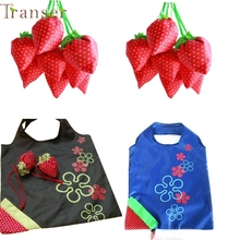 Shopping Bag New Simple Strawberry Fruit Green Folding Convenience Shopping Bag 0214 drop shipping
