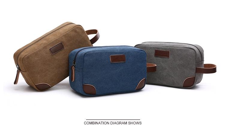 Canvas Travel Bag Toiletry Organizer Shaving Dopp Kit Travel Cosmetic Bag Makeup Men Handbag Casual Zipper Wash Cases Women 3