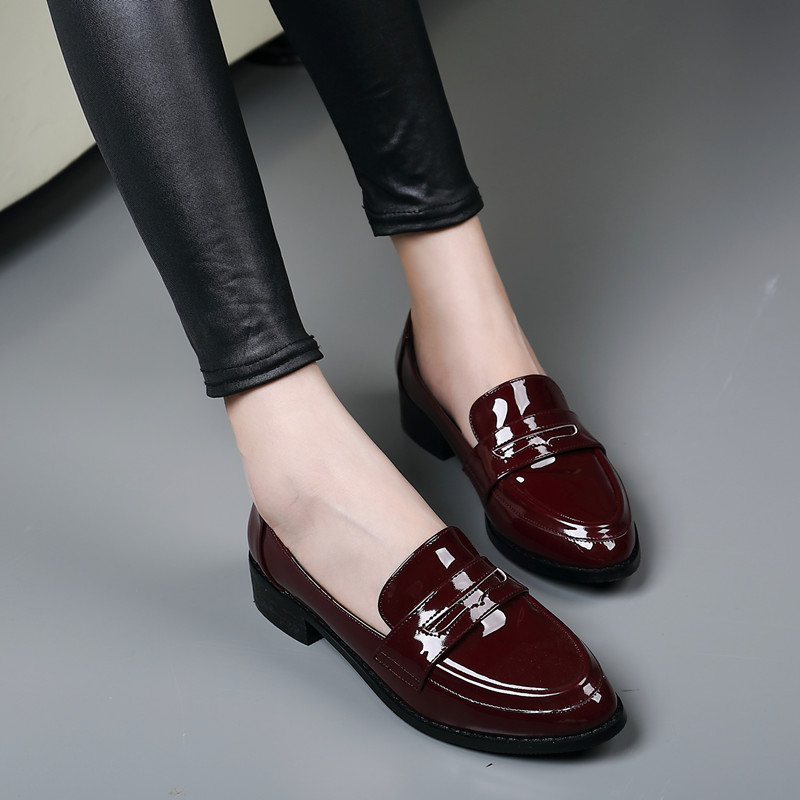 2017 New women causal flat shoes High quality patent leather wine red pointed toe bow knot ladies loafer shoes plus size 42 ML07<br><br>Aliexpress