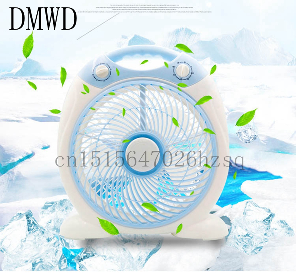 DMWD Electric fan Wind Machine 3 level Speed setting Cooling 12 Inch blades Box Fan White Blue Home desktop dormitory office<br>