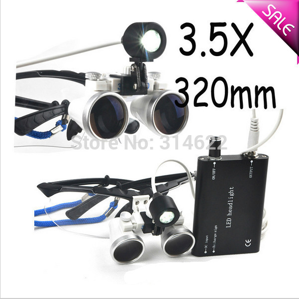 Dental Surgical Medical Binocular Loupes + LED Head Light Lamp Black 3.5X320mm<br><br>Aliexpress