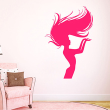 Free Shipping New Wall Decals Vinyl Decal Sticker Woman Model Hair Beauty Salon Design Deco 22inX35in