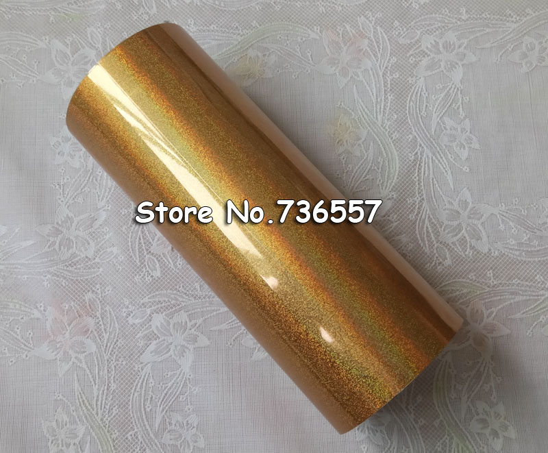 Hot stamping foil Holographic foil hot stamping on paper or plastic 16cm x 120m golden sand color<br>