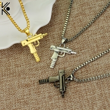 Hip hop Uzi Neck Gold Rose Plated Pistol Uzi Gun Pendants & Necklaces Chain Necklace for Men Women Party Accessories Punk S(China)