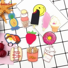 11 Types 1pcs/bag Cartoon Creative Pineapple Ice Cake Strawberry Hamburger Fries Brackets Bakery Acrylic Cloak Clothes Ornament(China)