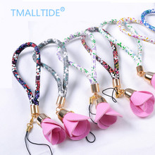 Tmalltide PU Leather Rose Flower Lanyards Mobile Phone Straps for ID Card Key USB Camera MP3 4 for Iphone for Samsung