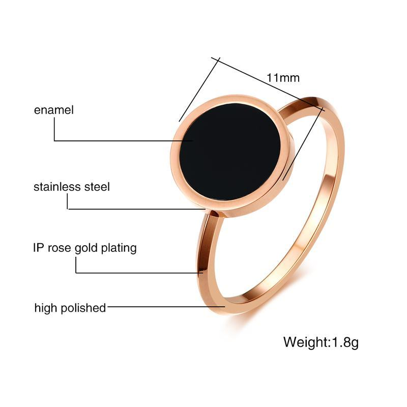 Meaeguet Rose Gold Color Women's Simple Rings Stainless Steel Black Stone Finger Ring Fashion Cocktail Jewelry (9)