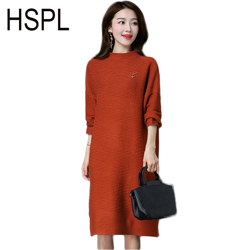 HSPL Long Autumn Loose Dress Women 2017 Sweater Knitted Pullover Long Sleeve Warm Pencil Sexy Ladies Spring Split Dresses Îäåæäà è àêñåññóàðû<br><br>