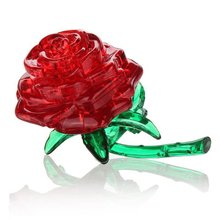 3D Crystal Puzzle Cube Jigsaw Model DIY Rose IQ Toy Gadget red