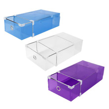Half Transparent Plastic Drawer Shoe Box Case 2 Sizes for Both Men Women DIY Shoe Box Shoes Organizer 3 Colors(China)
