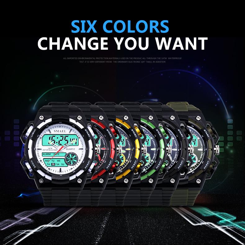 SMAELผู้ชายนาฬิกากองทัพดิจิตอลนาฬิกาสปอร์ตGสไตล์ช็อกนาฬิกาของมนุษย์1438นาฬิกาข้อมือm ontre homme LEDนาฬ... 17