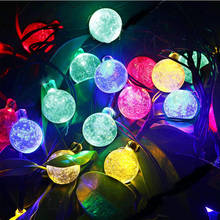 Tanbaby 6M 30Led Crystal ball String light Solar decoration lights waterproof outdoor garden Tree fairy lighting White RGB