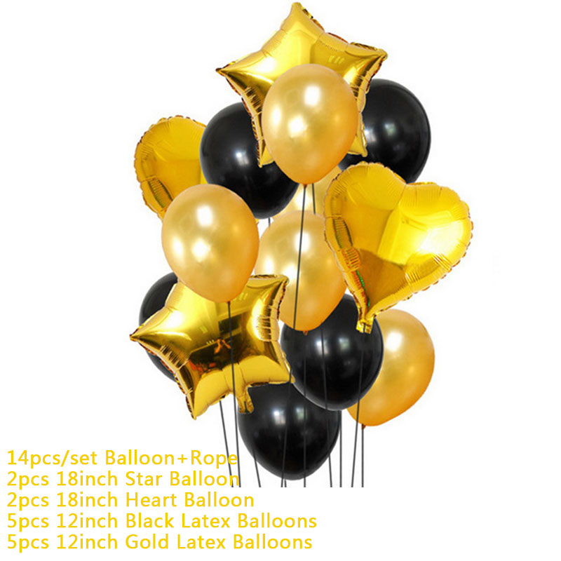 Hoomall 10/14PCs Confetti Air Balloons With Rope Heart Star Gold Champagne Latex Helium Balloon Wedding Decorations Party Supply 28