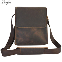 Men's Crazy horse genuine Leather shoulder bag Brown cow leather messenger bag Vintage real leather cross body bag Fast post(China)