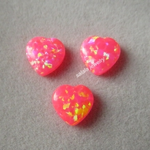 30pcs/lot 8mm   Heart Opal OP43 Hot Pink  Heart Opal Drilled Synthetic Cabochon Heart Opal for Opal Necklace & Pendant