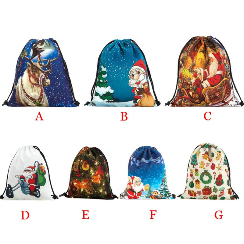 2018 New Ocardian Christmas Candy Gift Bundle Pocket Santa Claus Snowman Printed bag breathable Backpacks for Travel Daily C041727