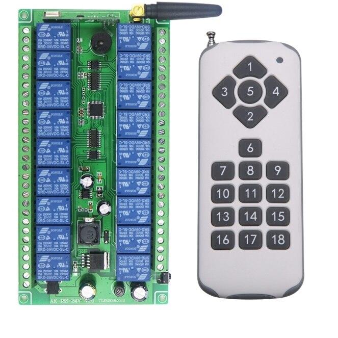 DC12V 24V Wide voltage 18CH 18Channe RF wireless remote control switch System, 1 X Transmitter + 1 X Receiver,315/433 MHZ<br>