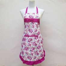 New Printed Lace Apron Pocket Waterproof Floral Rose Bib Kitchen Cooking Soil Release Aprons Bowknot Home Textiles Women Bibs