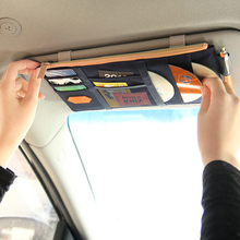 High Quality Microfiber Car Sun Visor Glasses clip documents folder / card holder multifunctional CD storage bag(China)