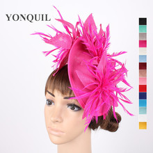 Hot pink or 16 Colors women elegant flower hair fascinator hats with feathers headbands ladies wedding headwear hair accessories(China)