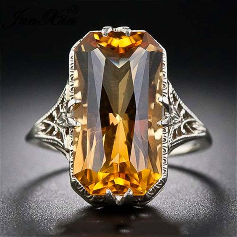 Big-Rings Charm Zircon Wedding-Bands Yellow-Stone Silver-Color Vintage Women Anitique title=