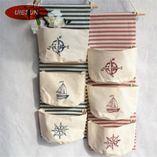 ZAKKA Style Sailing Anchor Home Organizer Storage Bags Linen Pastoral Wall Decorating Hanging Pocket Bag Organizador UIE698