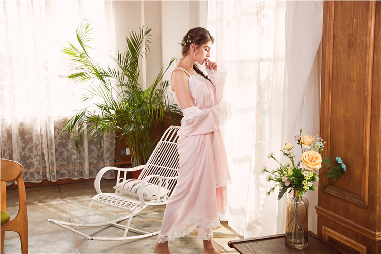 2018 New 2 Piece Robe Set Lace Chemise Full Slips with Victorian Robe Retro Palace Robe Gown Set GT046 6