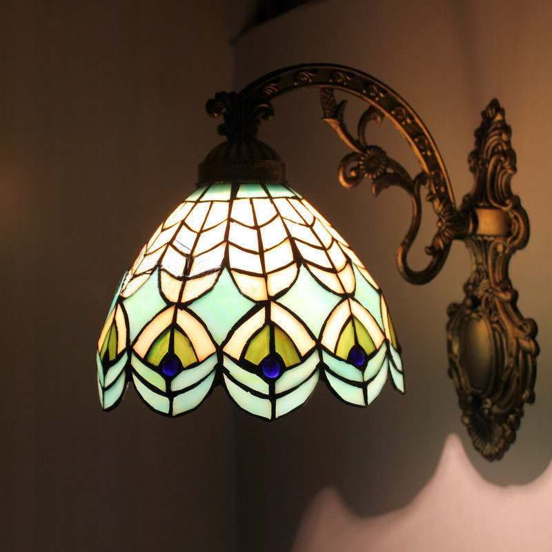 Peacock Bedroom Wall Sconce Tiffany Mirror Wall Light Switch  Lamp for the Bedroom Corridor Study Bedroom Wall Sconce<br><br>Aliexpress