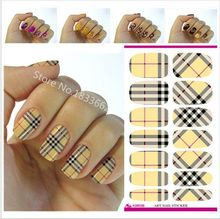 2017 Nail Sticker V603 Water Transfer Nail Art Sticker Minx Manicure Decoration Styling Tools Wraps Decals Plaid Design Polish(China)