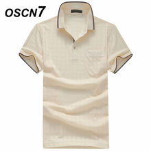 10151fedca OSCN7 Xadrez Polo de Manga Curta Camisas Homens Plus Size Business Casual  Polo Homme Formal Camisas
