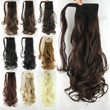 Synthetic Hair Long Wavy Clip In Ribbon Ponytail Hair Extensions Hairpiece Fake Hair Pony Tails Ponytails Hair Pieces