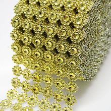 "3.75"" 5Yards Silver/Gold 6rows Daisy Flower Diamond Mesh Bling Crystal Ribbon Trim Wedding Cake Candle Holder Decoration(China)"