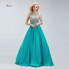 Vestido de Festa Crystal Beading Prom Dresses Scoop Neck With Sleeveless Elegant Floor-Length Sexy Backless Evening Dresses(China)