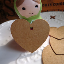 100pcs Small Heart Brown Paper Tags, Gift Tag, Wedding Gift Tags, Party Tags, Message Cards ,Price Label