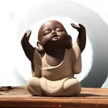 T Cute Pet Chinese Sand Little Monk Buddha Tea Yoga Room Decoration Boutique Accessories Handmade Crafts Ornaments Gift(China)