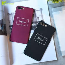 KL-BOUTIQUES Cartoon Case sFor Fundas iPhone 5 5S 6 6S 7 8 Plus Simple Letter Back Cover For iPhone5 s Fashion Slim Hard Case()
