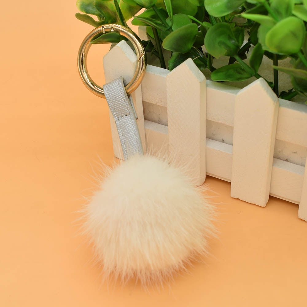 mink fur ball keychain white