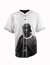 Real American Size  tupac  3D Sublimation Print Custom made Button up baseball jersey plus size