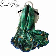 [Visual Axles] 28th,March Designer Silk Scarfs Women Luxury Brand Print Peacock Feathers Silk Foulard Scarf