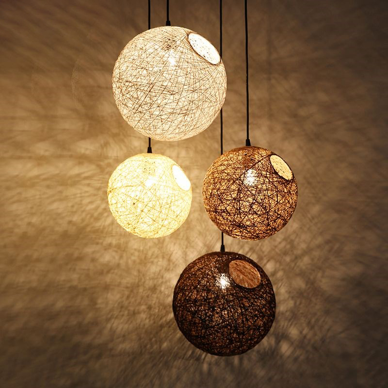 Modern Ma Rattan Ball Wicker LED Pendant Light For kids room Christmas Xmas Wedding baby room decoration Party bar aisle lamps<br>